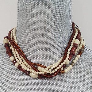 STEPHAN & CO GOLD TONE BEIGE BROWN NECKLACE
